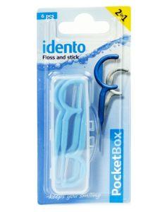 Idento Floss and Stick, TravelBox 6 stk (blå)