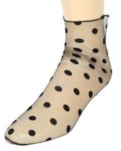 Everneed Cerise Stockings - Mûre - Nylon Ankelstrømper Med Dots