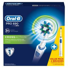 Oral B - Braun Pro 690 3D CrossAction Dobbeltpack 2 Maskiner + 2 børster